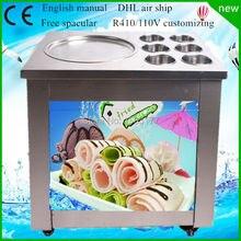 Envío gratis Nueva ronda 110 V/220 V CE eléctrica fry helado máquina de un pan de leche hielo máquina de rodillo R410a hielo frito pan máquina