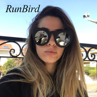 RunBird Fashion Vintage Oversize Cat Eye Sunglasses Women Brand Designer Sun Glasses Female Retro Big Frame