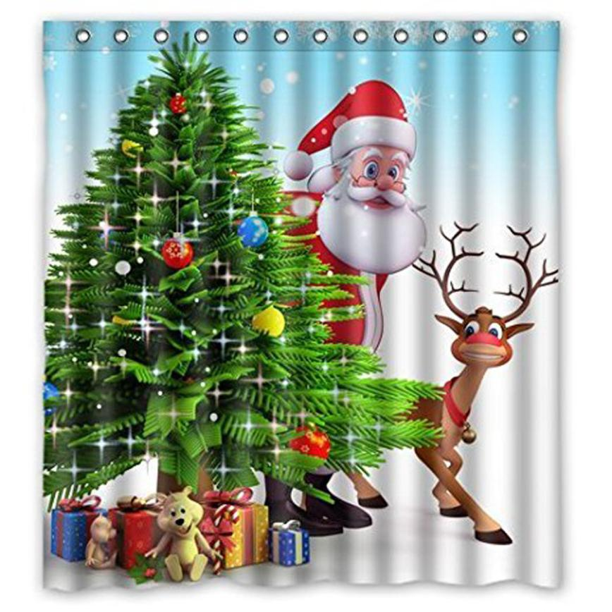 Custom Merry Christmas Fabric Waterproof Bathroom Shower Curtain 66 x 72 11.1