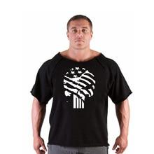 skull print tracksuit t shirt muscle Trends in Golds Fitness Men Bodybuilding Gorilla Wear Shirt Batwing Sleeve Rag Tops