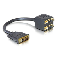 DVI Macho para DVI Adaptador Feminino 2 cabo Single Link DVI Splitter 1 a 2 Porta Y Extensão Cabo Adaptador para PC HDTV Preto