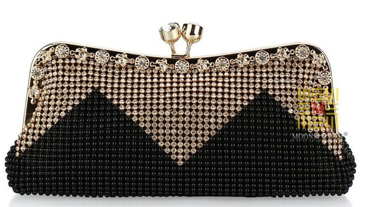 Nice Style Women's Beaded Clutch Bags Exquisite Diamond+Beads Evening Hasp Open(With Alloy Chain) Color 9395