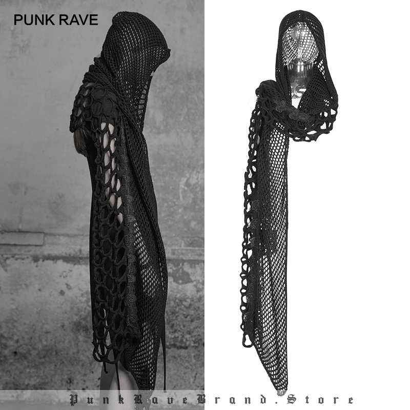 PUNK RAVE Women s Dark Gothic Female Scarf Caps Personality Fashion Girl Black Mesh Lace Knitted