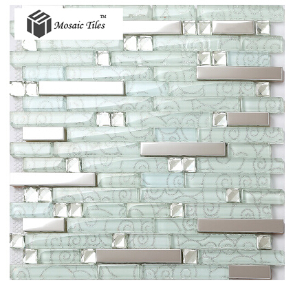 bathroom mirror tiles for wall new white glass kitchen backsplash tile silver steel cloud 22236