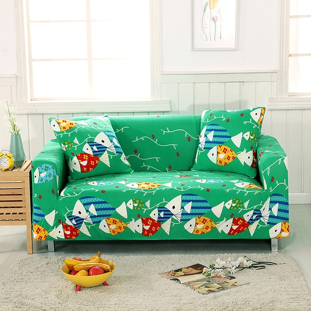 Universal Green Stretch Sofa Slipcover For Living Room Fish Pattern Couch Corner Cover Cartoon