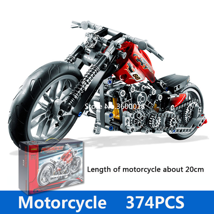 Decool 3354 Technic Motorcycle 374pcs Building Blocks set Eductional DIY Brick Toys Compatible <font><b>legos</b></font> Technic 8051 8041 8081 3360 image