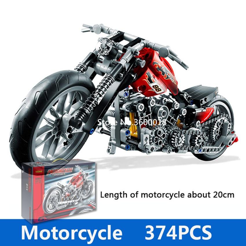 Decool 3354 Technic Motorcycle 374pcs Building Blocks Set Eductional DIY Brick Toys Compatible Legos Technic 8051 8041 8081 3360