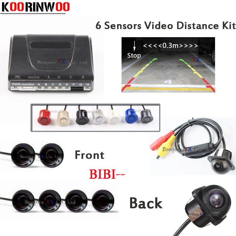 2017 Car parking Sensor 6 detector Show Distance Front camera car Rear view camera Parktronic System Reverse radar Video backup цены
