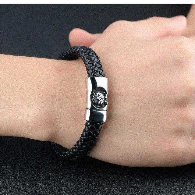 bracelet cuir tressé argent hibou chouette