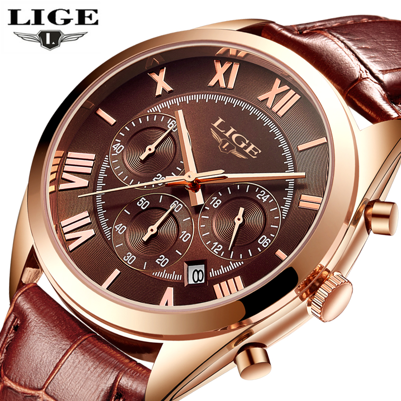 LIGE Watches Men Luxury Brand Six pin Fashion Quartz Watch Men Military Sport Waterproof Man leather Clock relogio masculino+box 2017 new top fashion time limited relogio masculino mans watches sale sport watch blacl waterproof case quartz man wristwatches