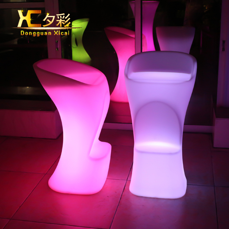 Plastic LED High Bar Chair Color Changing Club Cocktail Wine Stool For Pub Hotel Resturant Coffee shop Music Festival one lux acrylic bar stool for home lucite bar chair high chair club bar furniture