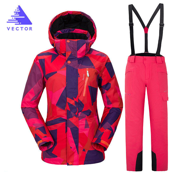 Ski Suit 2018 Winter Ski Jacket+Pants Womens Snowboarding Suits Super Waterproof Breathable Warm Ski Suit For Female