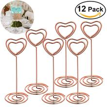 12pcs Rose Gold Heart Shape Photo Holder Stands Table Number Holders Place Card Paper Menu Clips For Wedding Party Decoration