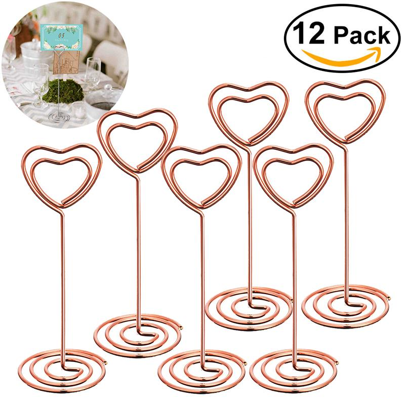12pcs rose gold heart shape photo holder stands table for Table number holders