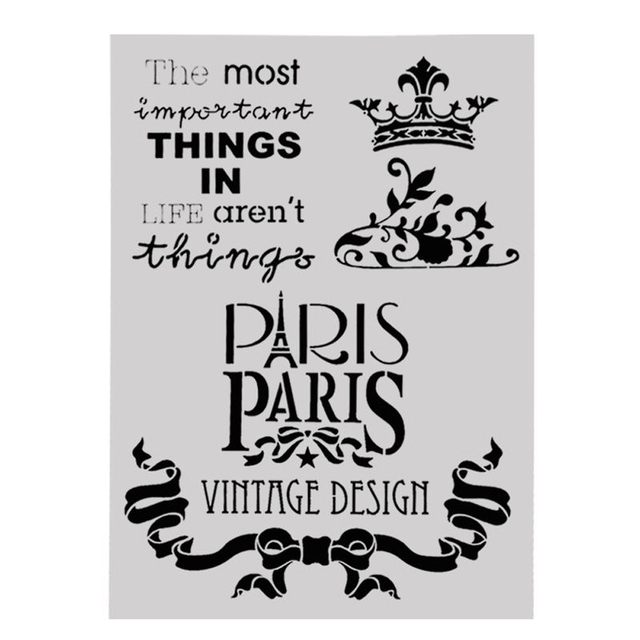 Us 1 02 7 Off Paris Style Craft Hollow Layering Stencils For Wall Painting Scrapbooking Stamping Stamp Album Decorative Office School Supplies On