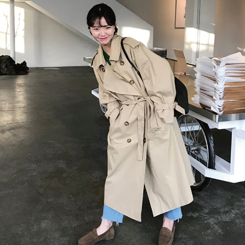 2018 Autumn New Khaki Women   Trench   Coat Long Windbreaker Europe America Fashion Trend Double-Breasted Loose Long   Trench