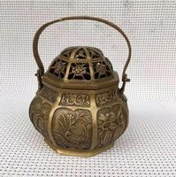 Living room office ornament, brass lifting pot SPA fumigating stove