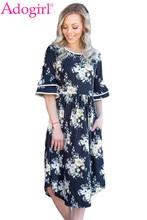 3caaf3f35c Adogirl Floral impresión en capas de Bell vestido de verano cuello redondo  moda playa Boho Vestidos Mujer Casual Midi Vestidos