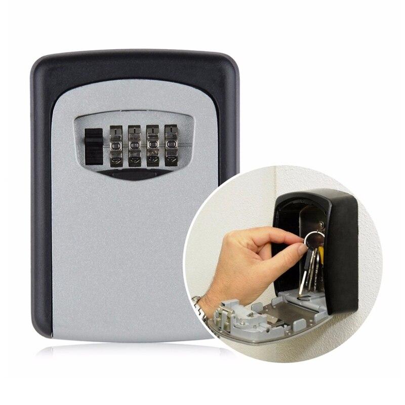 Wall Mount Key Storage Box Organizer Security Keyed Door Lock with 4 Digit Combination Password Zinc Alloy Secret Safe YSH00