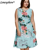 2017 Women Dress Large Size Sleeveless Vintage Tunic Floral Print Retro Summer Flower Printed Plus Size