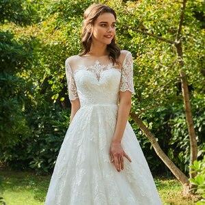 Image 5 - Dressv ivory wedding dress scoop neck short sleeveless bridal elegant outdoor&church appliques button ball gown wedding dresses