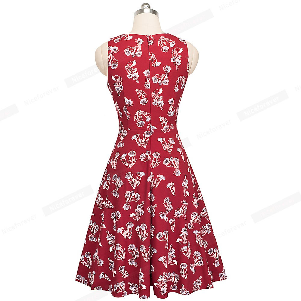 Nice-forever Vintage Elegant Embroidery Floral Lace Patchwork vestidos A-Line Pinup Business Women Party Flare Swing Dress A079 127