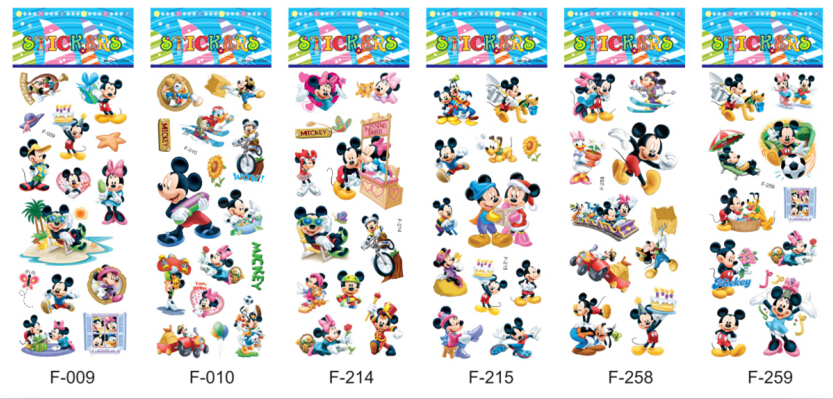 200 sheets /lot Super Cartoon 3D Puffy Stickers Children Mickey Minnie Mouse 7*17cm Early Learning Education Toys Kids wholesale