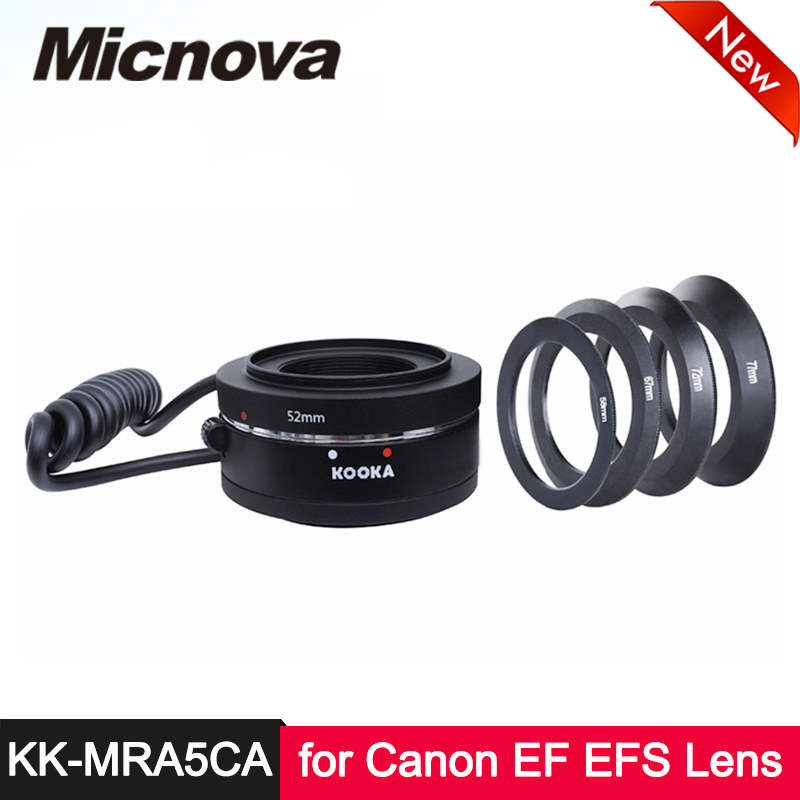 Kit d'anneaux d'adaptateur de lentille inverse d'autofocus en alliage d'aluminium de KK-MRA5CA pour appareil photo reflex numérique Canon