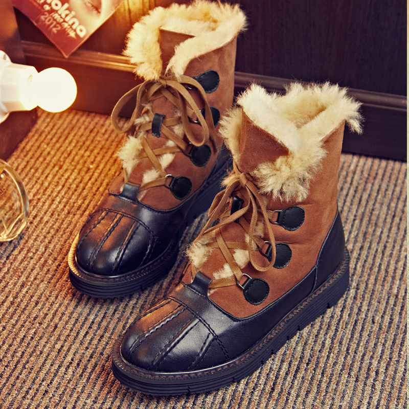 2017 New Arrival Lace Up Snow Boots Sheepskin Boots With Fur Women High Quality Winter Warm Boots Outdoor Sport Booties A6531