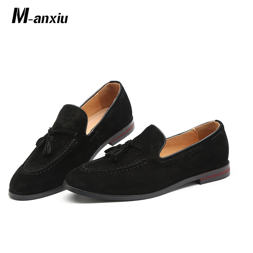 New Men/'s Shoes Dress Formal Cow Leather Loafers Slipper Black Brown Blue  37~43