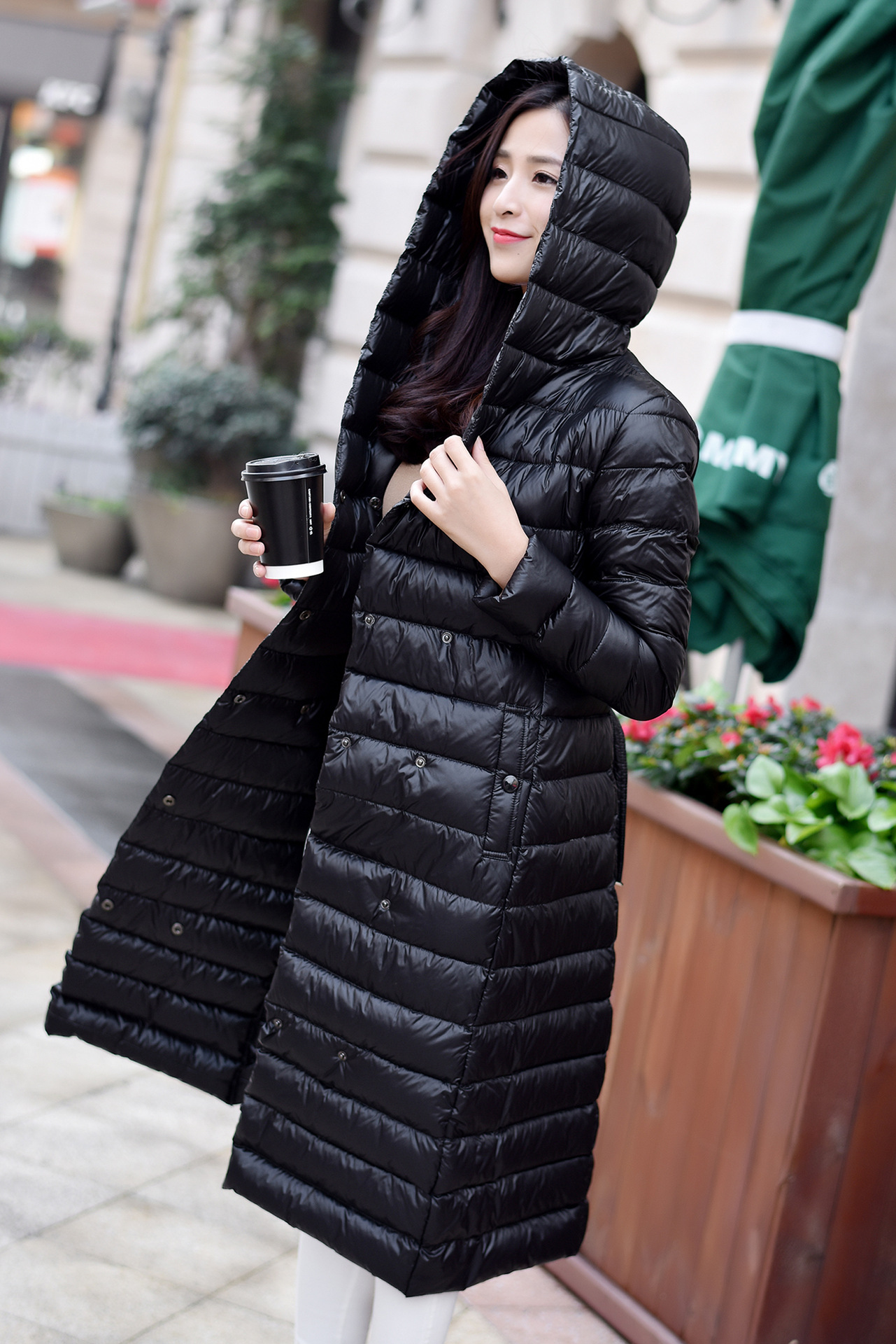 X-long ultra thin light weight hooded down jacket women cashes long-sleeved slim warm winter down coat outerwear 2017 autumn