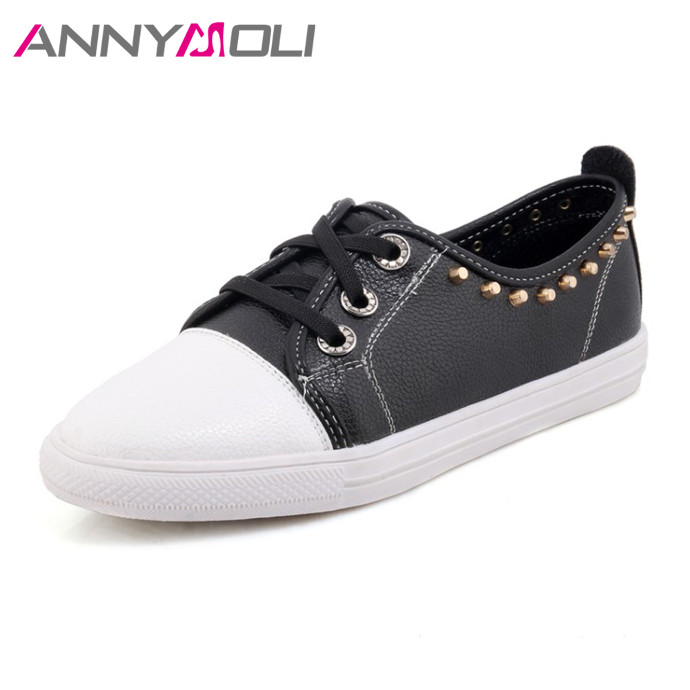 ANNYMOLI Women Flat Shoes Spring Rivets Lace Up Casual Shoes 2018 Solid Female Flats Creepers Black Red White Big Size 12 45 46