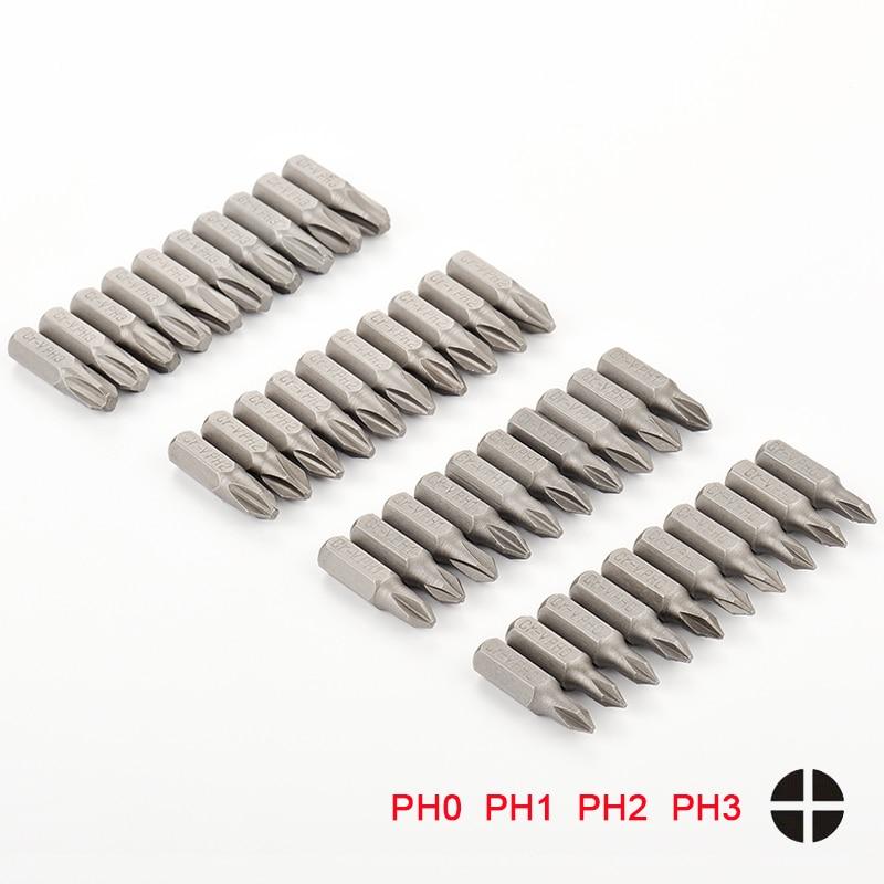 10pcs Electric Screwdriver Bit Set 25mm PH0 PH1 PH2 PH3 1/4 Inch Hex Shank Bits Anti Slip Phillips Screwdrivers Kit