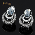 Austrian crystal earrings for girls antique silver plated women ear studs zinc alloy earings female pendientes oorbellen MDJB087