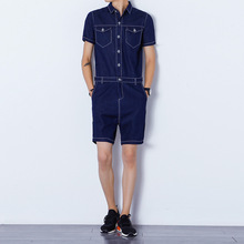 Summer Fashion Denim Rompers Mne's Short Sleeve Jumpsuit Male Cool Harem Short bib Pants Overalls Hip Hop Streetwear back zipper