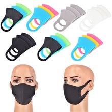 3PCS שחור פה מסכת לנשימה יוניסקס ספוג פנים מסכת לשימוש חוזר מגן פנים רוח הוכחת פה כיסוי