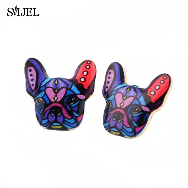 SMJEL Enamel Animal Pet Dog Stud Earring for Women French Bulldog Earings Puppy Fashion Jewelry Halloween Gift OED049