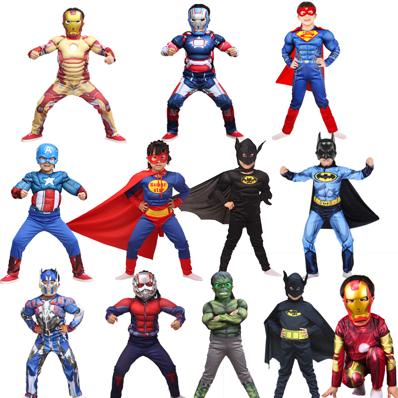 Free shippingChristmas Cosplay for Kids Boys Muscle Super Hero Captain America Costume SpiderMan Hulk Avengers Costumes carnival