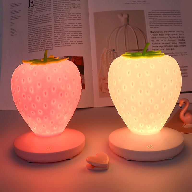 Creative Silicone Strawberry LED Night Light USB Charging Touch Dimmable Decorative Atmosphere Lamp For Baby Children Kids Gift