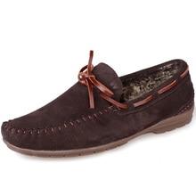 US6-12 Нубук Замши Меха Подкладка SLIP-ON Зашнуровать Зима Супер Теплый Людей Loafer Обувь для Вождения Ленивый Человек Лодка Обуви