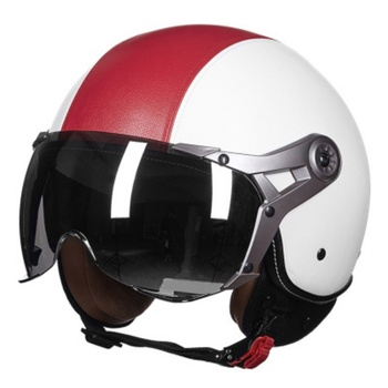 New Motorcycle Helmet German Leather Style Vintage Motorcycle Open Face Retro Helmet Cruise Chopper Biker Pilot DOT Size L-XL