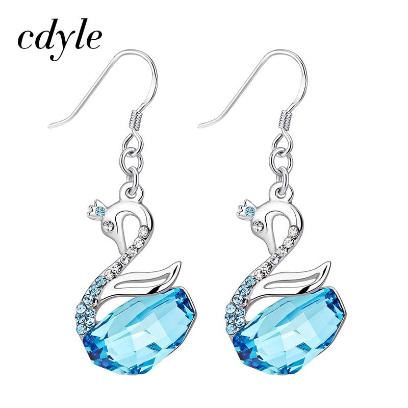 Cdyle Crystals from Swarovski Dangle Earrings Women Earring Luxury Gold Blue Fashion Jewelry Elegant Swan Austrian Rhinestone pair of elegant spiral tiered rhinestone dangle earrings