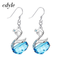Cdyle Crystals From Swarovski Dangle Earrings Women Earring Luxury Gold Blue Fashion Jewelry Elegant Swan Austrian