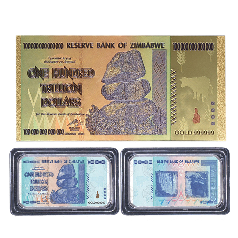 Wr Zimbabwe One Hundred Trillion Dollars Currency Challenge Gold Plated Bullion Home Decor Colored Golden Banknote For Souvenir In Non Coins From