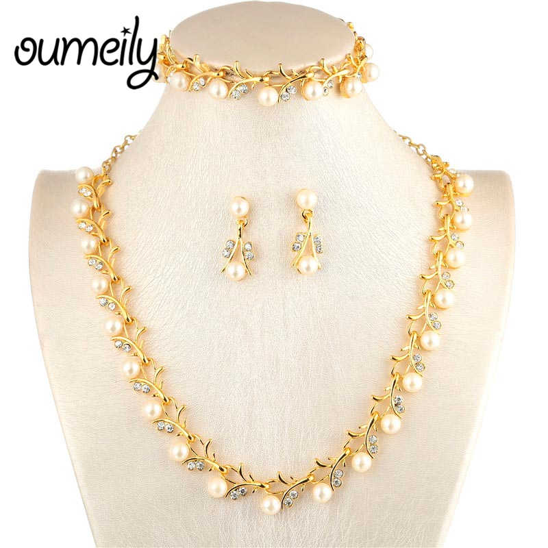Oumeily Bridal Wedding African Beads Jewelry Set For Women Simulated Pearl Crystal Indian Jewelry Sets Gold Color Jewellery African Beads Jewelry Set Jewelry Sets For Womenbeaded Jewelry Set Aliexpress