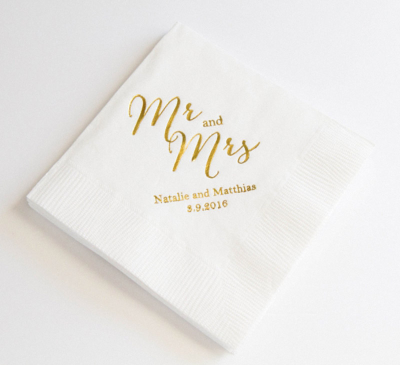 set of 100 mr and mrs personalized napkins custom napkins wedding birthday personalised cocktail napkins beverage