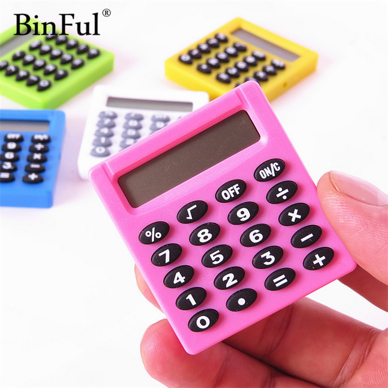 BINFUL New Student Mini Electronic Calculator Personalized Mini Candy Calculating Office Supplies Gift Coin Battery