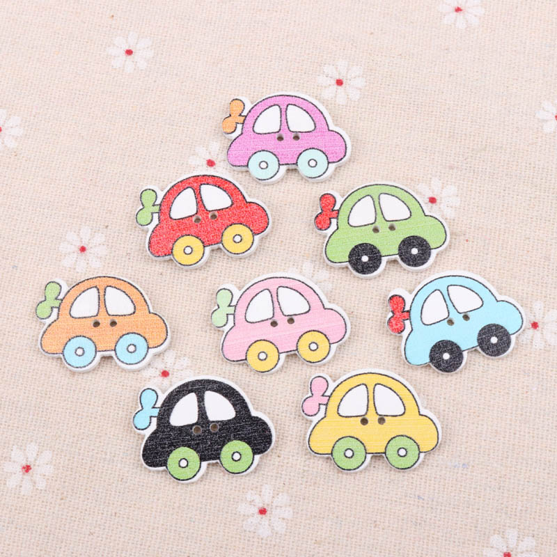 Arts,crafts & Sewing Generous Wooden Toy Car Painted Pattern Buttons 2 Holes Scrapbook Collection Handmade Sewing Home Decoration Diy 21x28mm 10pcs T1573-fd Low Price