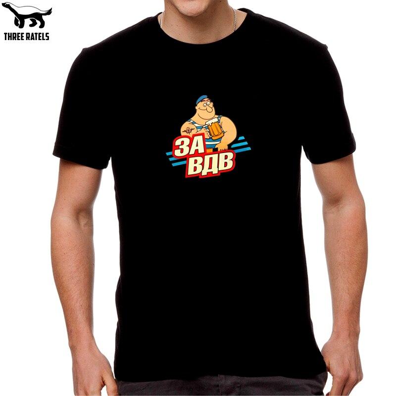 Three Ratels HST075 catoon za vdv Airborne Forces black t-shirt tee mens t shirt men cotton high quality