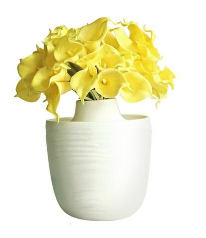 Gros 100 pièces Mini taille PU réel toucher Calla Lily fleur décorative fleur artificielle mariage fleur fête livraison gratuite-in Fleurs séchées et artificielles from Maison & Animalerie    2